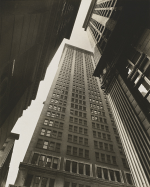 "Berenice Abbott's ""Canyon, Broadway and Exchange Place,"" 1936, gelatin silver print."