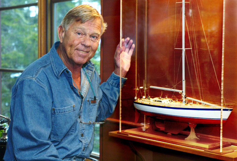 """The late Dodge Morgan, shown next to a model of American Promise, the boat he sailed solo, nonstop, around the world in 1986, will be remembered on Aug. 21, when the Maine Maritime Museum will commemorate the 25th anniversary of his achievement. The tribute to Morgan, who died on Sept. 14, 2010, will be held at the Portland Company complex on Fore Street in Portland. It will begin at 4 p.m. with a screening of """"Around Alone,"""" a documentary about Morgan's adventure. Afterward, members of the circumnavigation team and those Morgan inspired will share their reflections on the man and his voyage. American Promise will be dockside for tours. Tickets ($15 for museum members, $20 for nonmembers) are available at dodgemorgancommemoration2011.eventbrite.com/."""