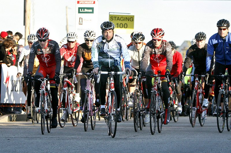 Actor Patrick Dempsey leads the 100-mile group as it leaves Lewiston during the Dempsey Challenge last October. This year's fundraising event to fight cancer takes place on Oct. 8 and 9.