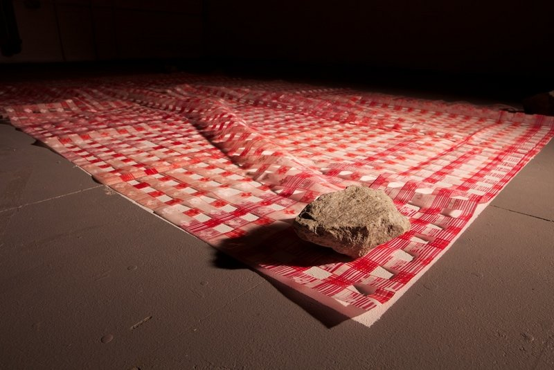 """Untitled (picnic cloth),"" paper, ink, stones, acrylic."