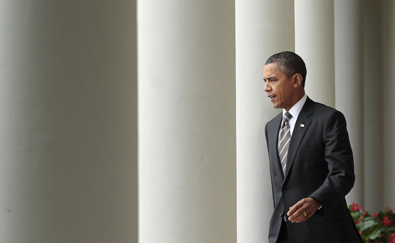 President Barack Obama exits the Oval Office last week.