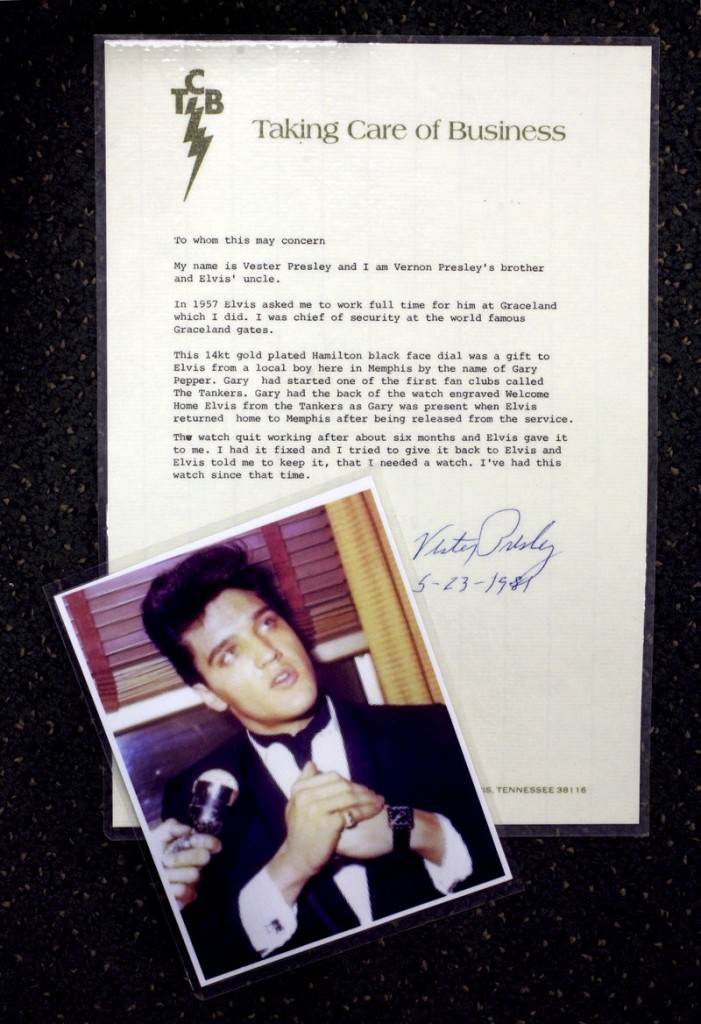 A letter signed by Vester Presley, Elvis' uncle, attests to the authenticity of the watch being sold at Windham Jewelers.