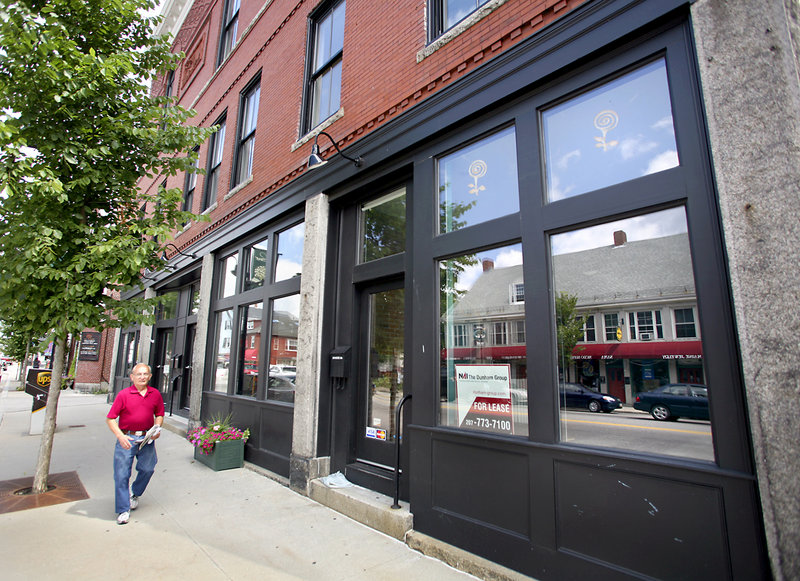 The empty shops at 199 Main St. have pushed the number of business vacancies in downtown Saco to about 10. The city is working with Saco Spirit to attract new tenants.