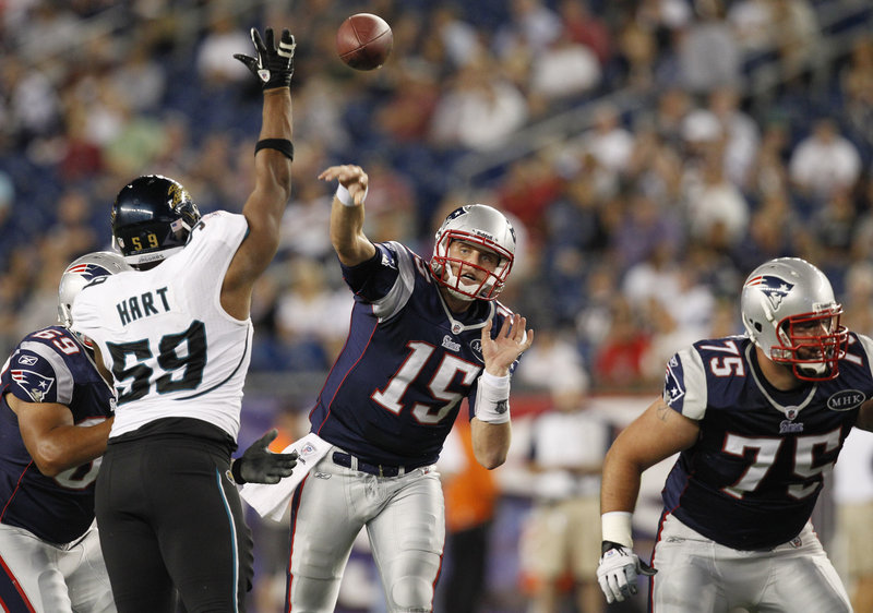 Rookie quarterback Ryan Mallett attempts a pass against Jacksonville in the Patriots' exhibition opener Thursday night in Foxborough, Mass. Mallett and third-year QB Brian Hoyer split time, competing to be Tom Brady's backup.