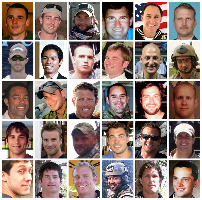 These photos show the 30 troops killed in the downing of a helicopter in Afghanistan last Saturday. First row: CWO Sgt. Alexander J. Bennett, Petty Officer 1st Class Darrik C. Benson, Chief Petty Officer Brian R. Bill, Tech. Sgt. John W. Brown, Petty Off. 1st Cl. Christopher Campbell, Chief Warrant Officer David R. Carter; second row: Petty Officer 1st Class Jared W. Day, Petty Off. 1st Class John Douangdara, Spc. Spencer C. Duncan, Chief Petty Officer John W. Faas, Sgt. Patrick D. Hamburger, Staff Sgt. Andrew W. Harvell; third row: Chief Petty Officer Kevin A. Houston, Lt. Cmdr., SEAL, Jonas B. Kelsall, Mstr. Chief Petty Off. Louis J. Langlais, Chief Petty Officer Matthew D. Mason, Chief Petty Officer Stephen M. Mills, Chief Warrant Officer Bryan J. Nichols; fourth row: Chief Petty Officer Nicholas H. Null, Petty Off. 1st Class Jesse D. Pittman, Mstr. Chief Petty Officer Thomas A. Ratzlaff, Chief Petty Officer Robert J. Reeves, Chief Petty Officer Heath M. Robinson, Petty Officer 2nd Class Nicholas P. Spehar; fifth row: Petty Officer 1st Class Michael Strange, Petty Officer 1st Class Jon T. Tumilson, Petty Officer 1st Class Aaron C. Vaughn Sr., Chief Petty Officer Kraig M. Vickers, Petty Officer 1st Class Jason R. Workman, Tech. Sgt. Daniel L. Zerbe