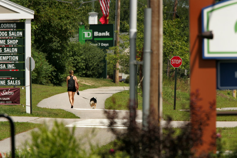 The Beth Condon Memorial Pathway for pedestrians and bicyclists runs along parts of Route 1 in Yarmouth.
