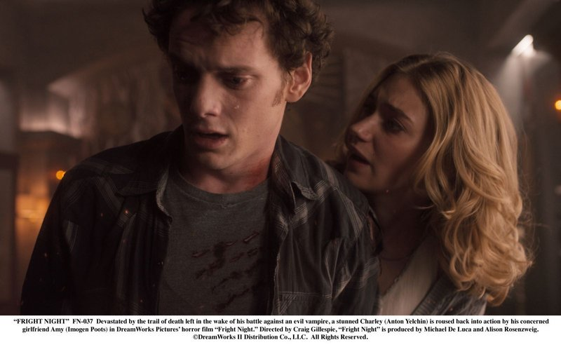 Anton Yelchin, here with co-star Imogen Poots, must outrun and outwit Farrell's relentless night stalker.