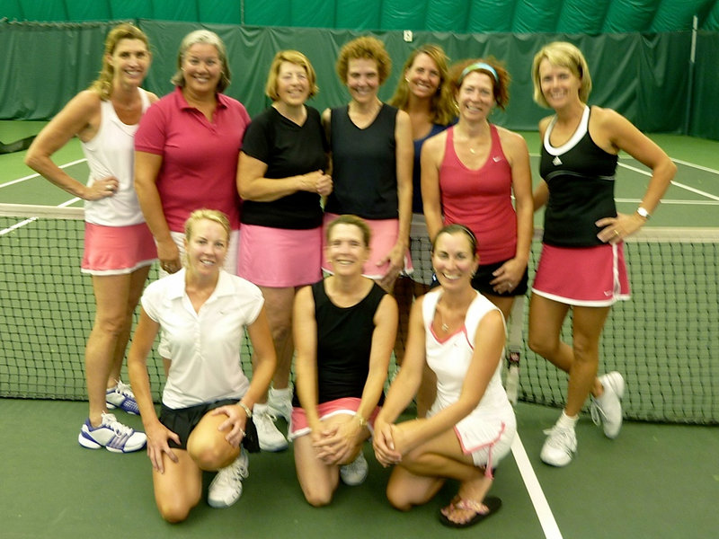 A team from The Woodlands recently won the 3.5 Level USTA district championship, earning a spot in the sectional tournament later this month. Pictured from left to right: Front, Mary Fitzgerald, Anne Lafond and Kali Bennert; Back, Kathleen Hart, Joan Drake, Melinda Eaton, Lois Lengyel, Patrice Fallon, Sue Strausenburg and Carolyn Cianchette. Team members missing from photo: Deb Duryee, Betsy Todd, Leandra Freemont-Smith, Cathy Robinson, Bronwyn Huffard, Prisca Thompson and Sandy Stone.