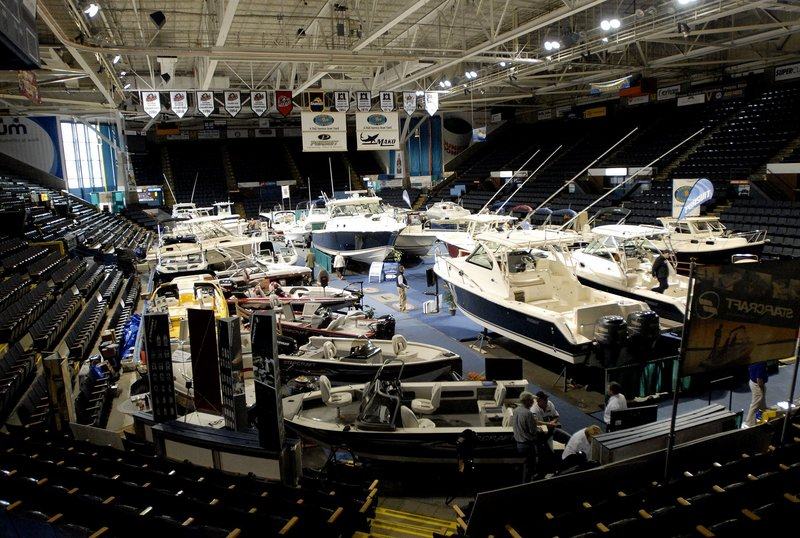 Watercraft fill the Cumberland County Civic Center in this photo taken at the annual boat show in January.