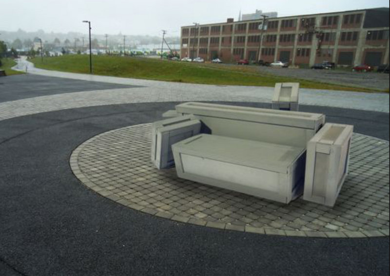 Aaron Stephan's design for a bench at the eastern end of Marginal Way resembles a pile of packing crates, in homage to the area's industrial heritage, and would cost $13,000.