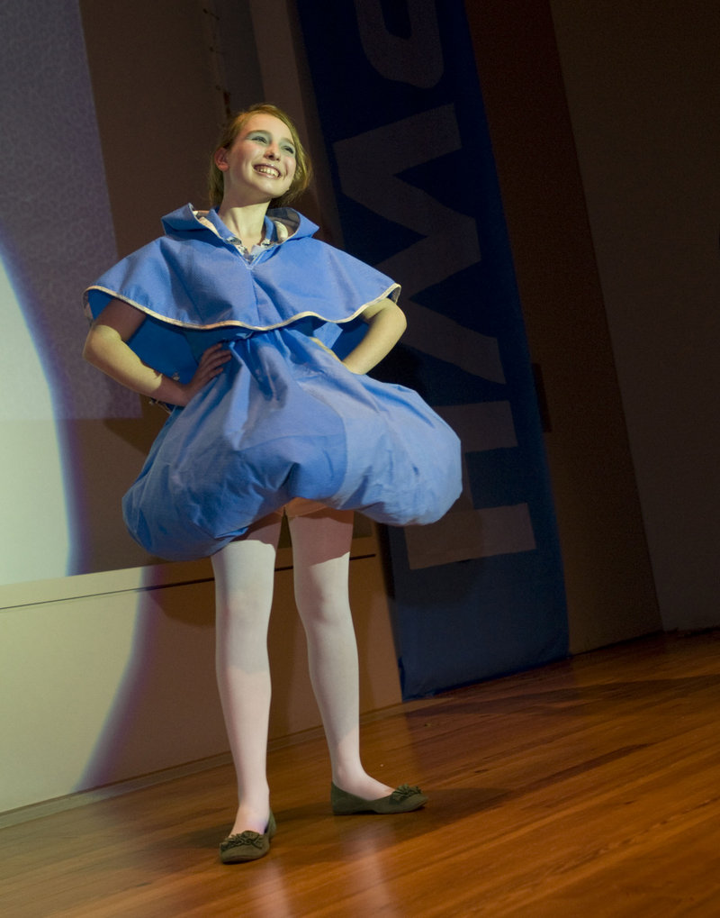 Stephanie Harmon's design features a short bubble skirt.