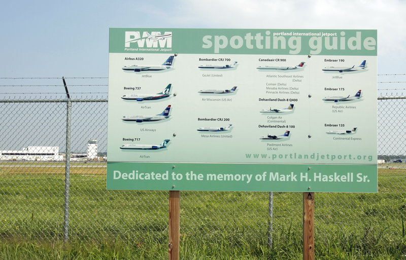 The Portland International Jetport has a plane-spotting guide at a parking area off Aviation Boulevard in South Portland. Paul Bradbury, the jetport manager, said it makes sense to keep the jetport's fan base happy.