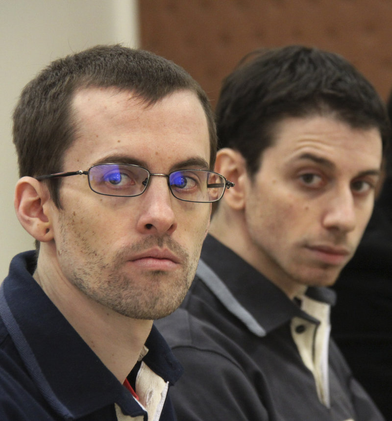 Shane Bauer, left, and Josh Fattal attend their trial in Tehran in February. The men say they mistakenly crossed into Iran during an outing in 2009. A third American hiker was released last year.