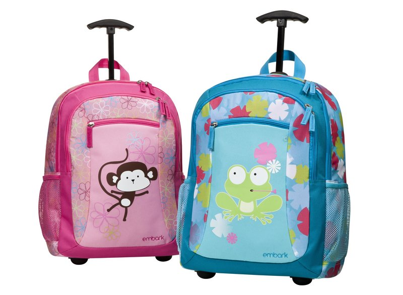 Kids Embark Pet Pals rolling backpacks sell for $22.99 at Target. Some schools, however, don't allow students to use packs on wheels.