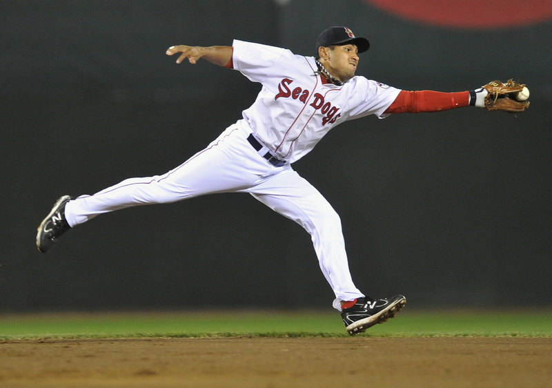 Portland shortstop Ryan Dent snags the ball on this infield hit in the sixth inning against the Harrisburg Senators on Monday night at Hadlock Field. Portland held a 1-0 lead after seven strong innings from starting pitcher Chris Balcom-Miller but Harrisburg rallied for a 4-1 victory.