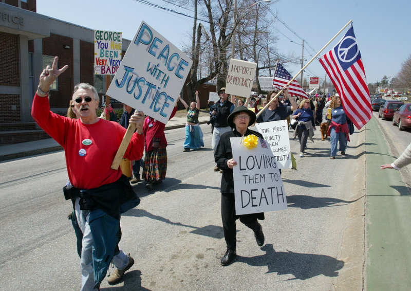 Demonstrators against the war in Iraq march in Augusta in 2003.