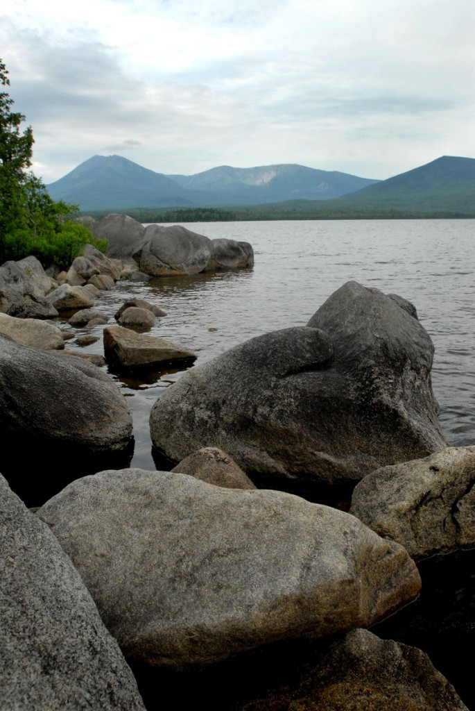 A view of Mount Katahdin from Katahdin Lake. The lake is now part of Baxter State Park.