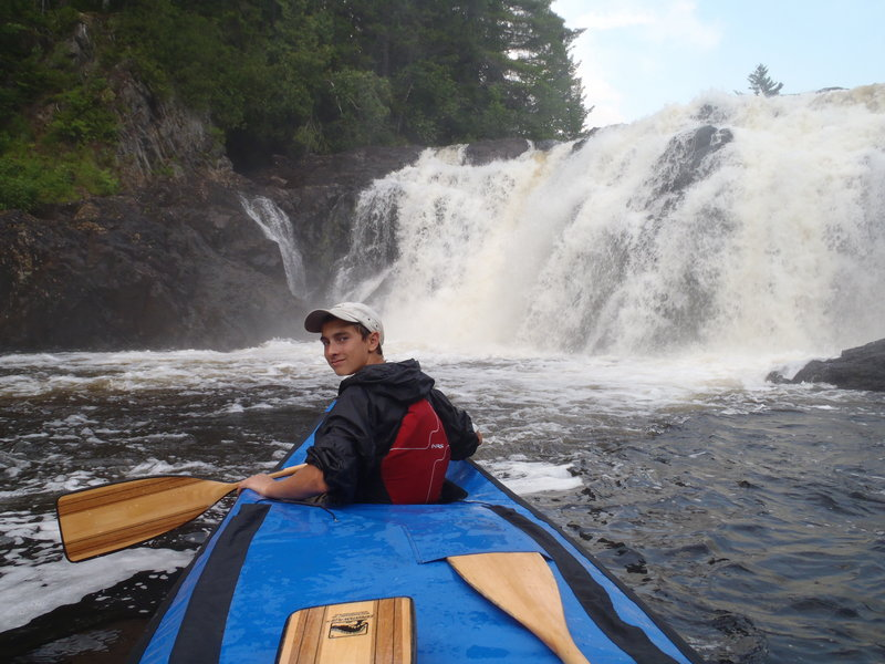 "Jeremy Collett smiles as he and his father approach Grand Falls. ""We paddled right under the falls,"" Russ Collett said. ""It was spectacular."""