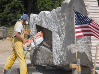 Six sculptors are hard at work on the Schoodic Peninsula.