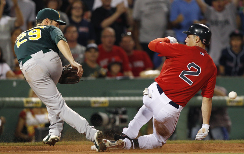 Oakland third baseman Scott Sizemore, left, prepares for a late throw as Boston's Jacoby Ellsbury reaches on a triple in the fifth inning Friday night at Fenway Park. The Athletics hammered the Red Sox a night after losing 22-9 to the Yankees at Yankee Stadium.