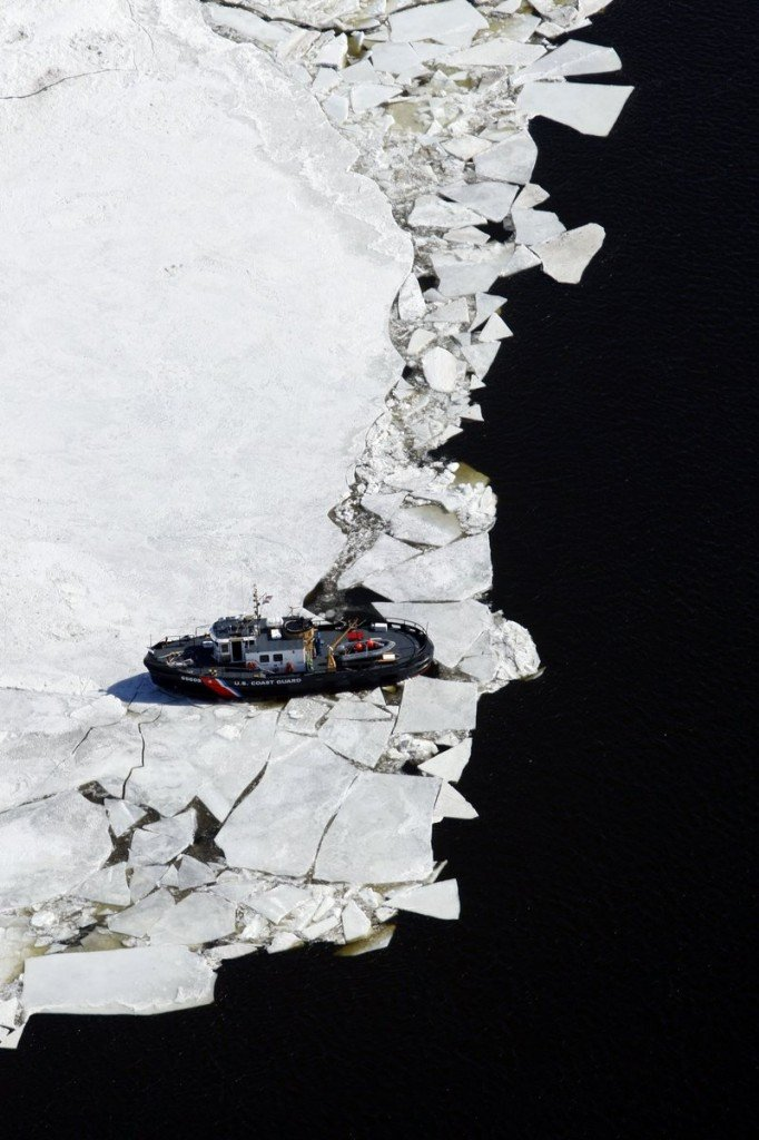 The Coast Guard cutter Shackle breaks ice on the Kennebec River in a passage known as the Chops on March 23, 2009, in Woolwich.