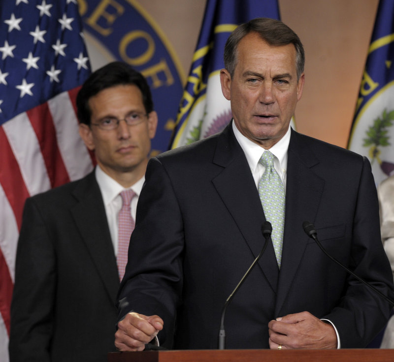 House Speaker John Boehner, right, and House Majority Leader Eric Cantor are leading a Republican push for votes this fall on federal environmental and labor rules.