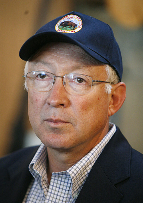 Interior Secretary Ken Salazar listens to a reporter's question about the proposed North Woods National Park during a visit to the L.L. Bean in Freeport today.