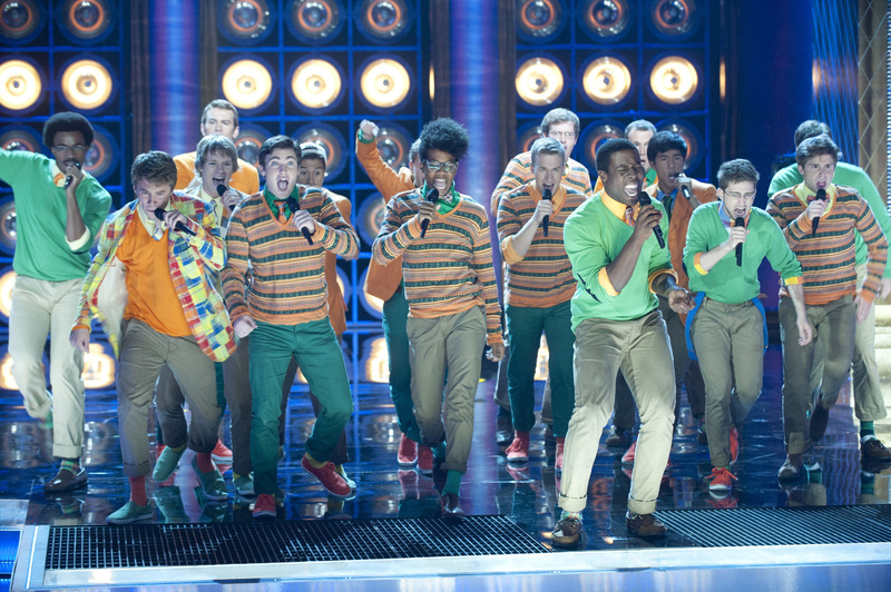 Portland's Michael Odokara-Okigbo (in front, green sweater) sings with the Dartmouth Aires in a taped episode of NBC's