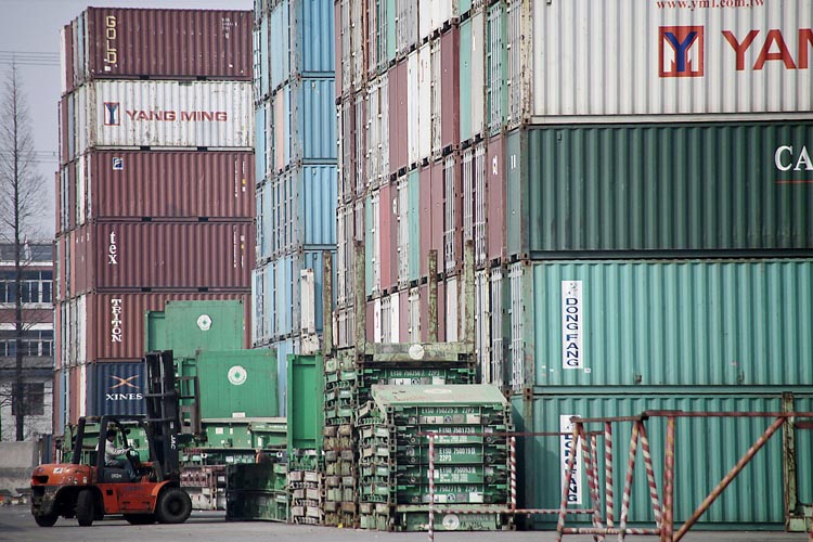 Shipping containers ready for export in Shanghai.
