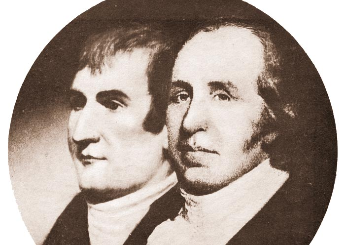 Portrait of explorers Meriwether Lewis, left, and William Clark. Back in 1806, the explorers stole a canoe from native Americans living on the Pacific Coast.