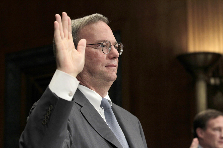Google's Executive Chairman Eric Schmidt is sworn in Wednesday before testifying before the Senate Antitrust, Competition Policy and Consumer Rights subcommittee.