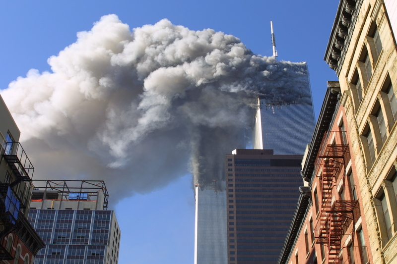 The twin towers of the World Trade Center in New York City burn on Sept. 11, 2001, after hijacked planes crashed into them. 10 year 2001 9/11 911 9-11 anniversary attacks building nyc september 11 terrorism world trade center wtc