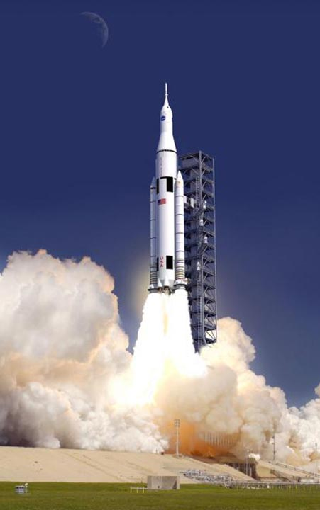 This artist concept provided by NASA shows the launch of the rocket design, called the Space Launch System. The design for NASA's newest behemoth of a rocket harkens back to the giant workhorse liquid rockets that propelled men to the moon. But this time the destinations will be much farther and the rocket even more powerful.