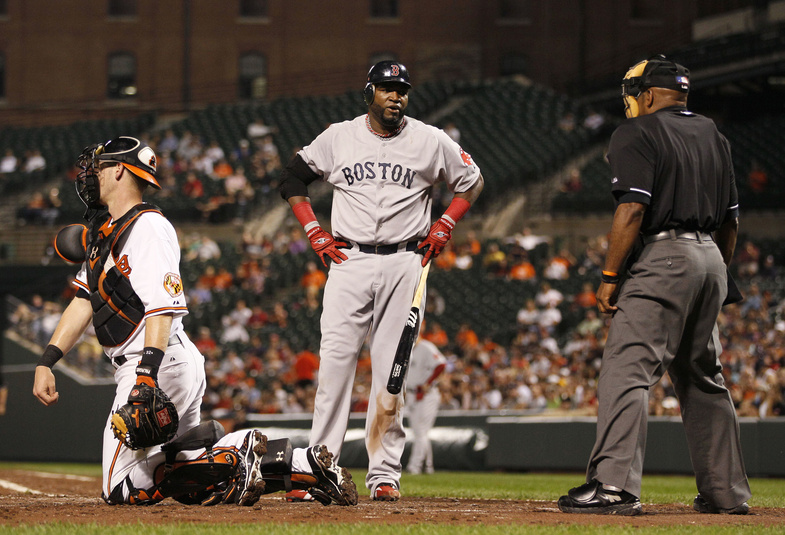 David Ortiz of the Red Sox reacts after being called out on strikes by umpire Laz Diaz in Monday's game at Baltimore. The Sox lost, 6-3.