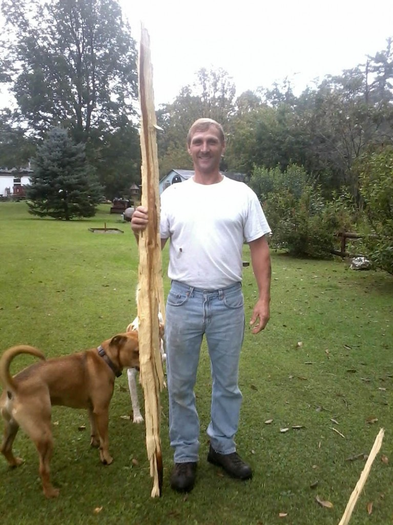 Contributed photo Tammy Gagnon said a lightning strike around 12:30 p.m. knocked a strip of wood out of one of her backyard trees on Sadler Drive in Sidney. She said nothing else was damaged from the strike. Her husband, Jeffrey, is shown with some of the damaged wood.