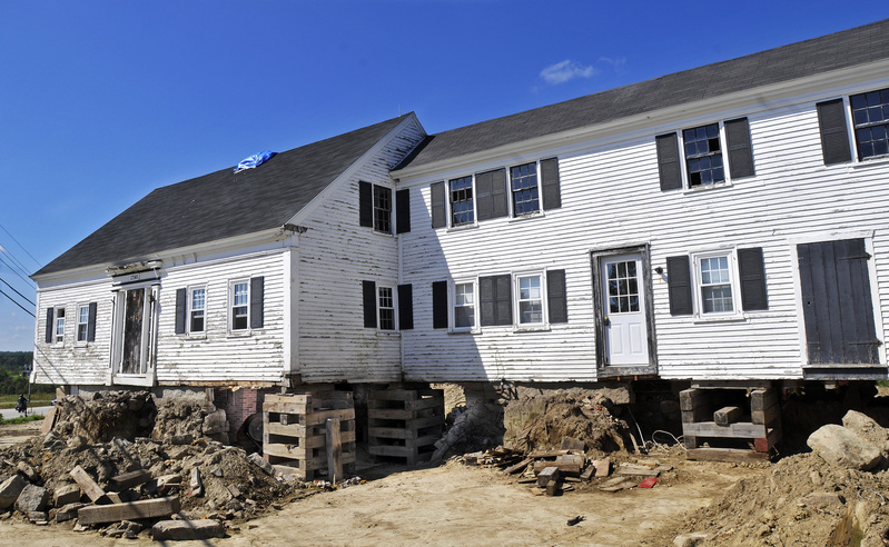 The Burnham farmhouse on Route 111 in Arundel, built in 1795, is one of two farmhouses that are being raised from their foundations and moved by the Arundel Historical Society.