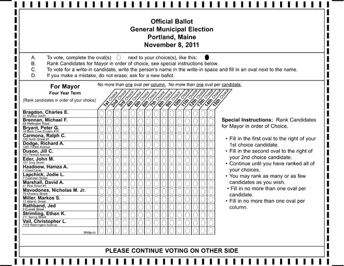 Sample of the ballot that will be used in the Nov. 8 election for Portland mayor.