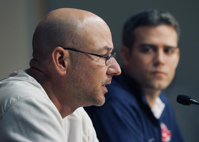 Boston Red Sox manager Terry Francona, left, speaks as general manager Theo Epstein listens during a news conference at Fenway Park on Thursday.