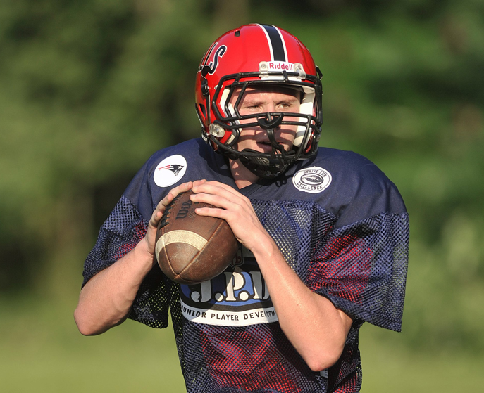 Wells senior quarterback/defensive back Paul McDonough at practice. In McDonough, Wells has one of the best playmakers in the state. Wells plays Cape Elizabeth tonight in Western Class B.