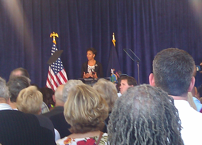 Michelle Obama addresses supporters at a fundraiser at the Ocean Gateway terminal today: