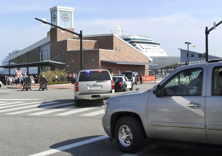 First lady Michelle Obama's motorcade arrives at the Ocean Gateway terminal in Portland this afternoon.