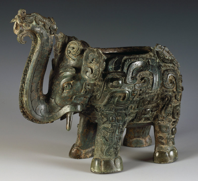 An elephant-shaped vessel used for serving wine is on loan from the Hunan Provincial Museum of Art.