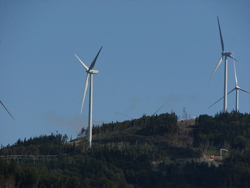 Wind-power turbines on Kibby Mountain are part of the vista for hikers on nearby Snow Mountain.