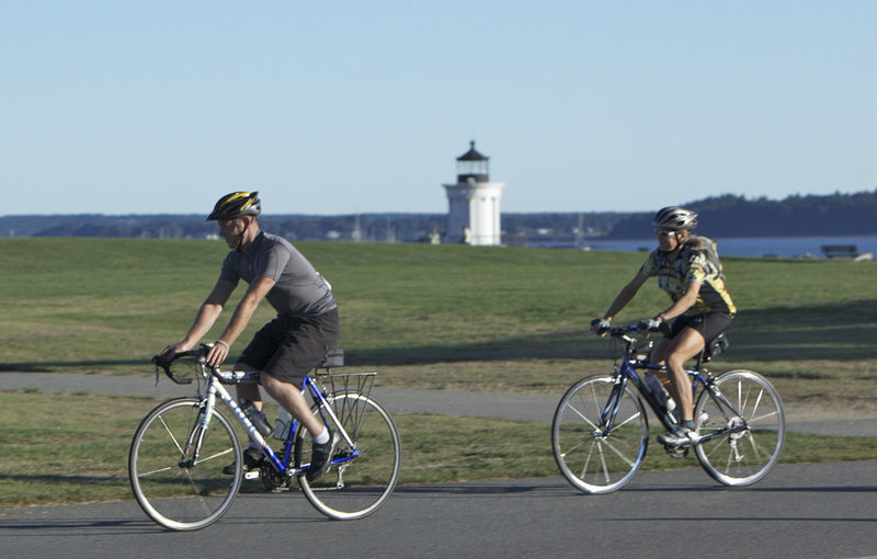 Bicyclists in last year's Maine Lighthouse Ride pass Bug Light in South Portland. This year's ride rolls out on Saturday from Southern Maine Community College in South Portland. Ride options include a 25-mile ride, a 40-mile loop, a 62-mile metric century, and a 100-mile century. Maps, cue sheets, multiple rest stops, food, refreshments and hot showers are provided. Registration is $60. All proceeds will benefit the Eastern Trail Alliance. Register by visiting www.EasternTrail.org or by calling 284-9260.