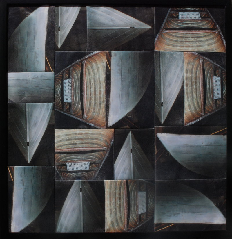 """With """"Still Floats,"""" mixed media and textile, Berri Kramer takes viewers inside and outside the hull."""