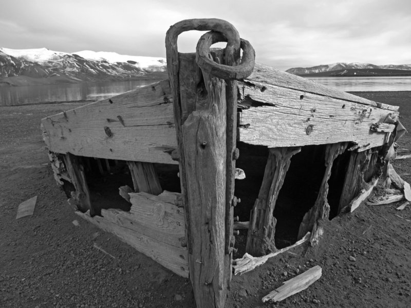 """John Hidgon's photograph """"Whaling Boat Skeleton"""" captures the end of the line."""