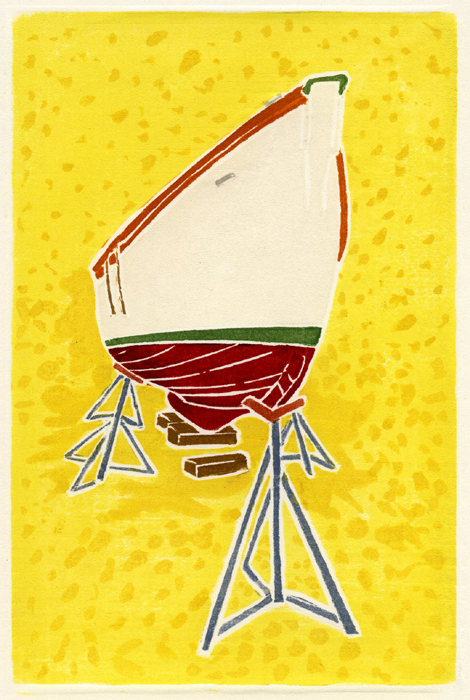 """""""Red and White Boat,"""" a wood block print by Willy Reddick."""