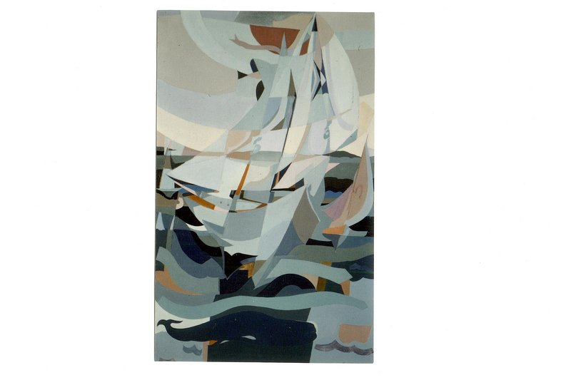 """John Lorence's oil-on-canvas """"The Whaler,"""" an almost abstract impression of a ship under sail in rough seas."""