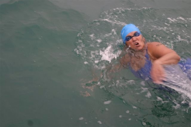 Pat Gallant-Charette takes a breath as she swims the English Channel on Aug. 22. The Westbrook grandmother's next challenge: In California, from Catalina Island to Long Beach.