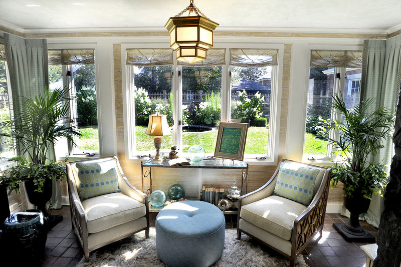 """The first-floor atrium flows off of the drawing room. A """"Great Gatsby""""-themed party at the home opened the show house fundraiser on Friday."""